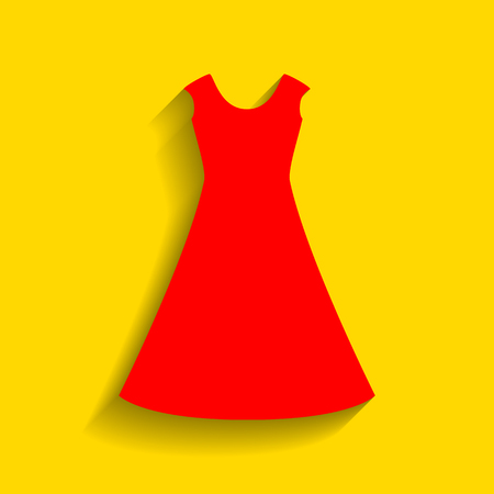 beautiful long dress sign Vector. Red icon with soft shadow on golden background.