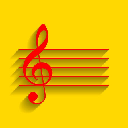 festival scales: Music violin clef sign. G-clef. Vector. Red icon with soft shadow on golden background.