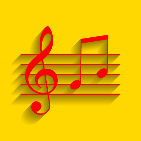 Music violin clef sign. G-clef and notes G, H. Vector. Red icon with soft shadow on golden background.