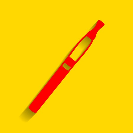 E-cigarette sign. Vector. Red icon with soft shadow on golden background.