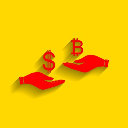 lira: Currency exchange from hand to hand. Dollar and Bitcoin. Vector. Red icon with soft shadow on golden background.