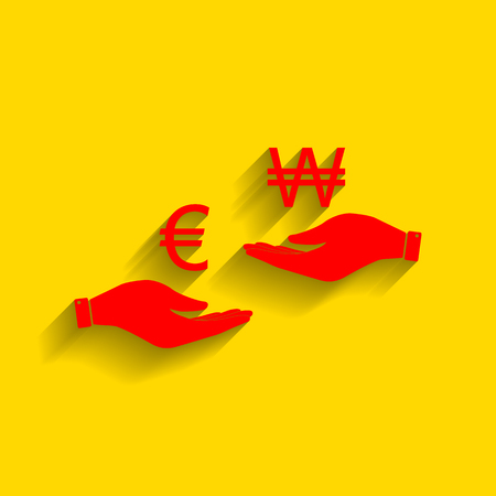lira: Currency exchange from hand to hand. Euro and Won. Vector. Red icon with soft shadow on golden background.