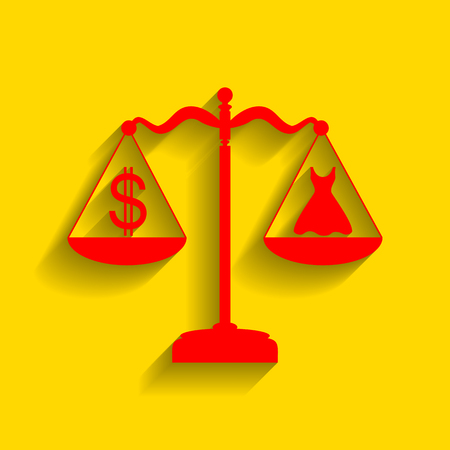 Dress and dollar symbol on scales. Vector. Red icon with soft shadow on golden background. Illustration