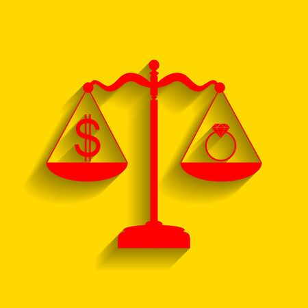 Ring jewelery and dollar symbol on scales. Vector. Red icon with soft shadow on golden background. Illustration