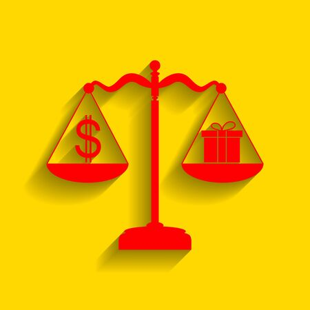 Gift and dollar symbol on scales. Vector. Red icon with soft shadow on golden background.