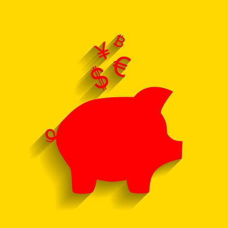 Piggy bank sign with the currencies. Vector. Red icon with soft shadow on golden background.