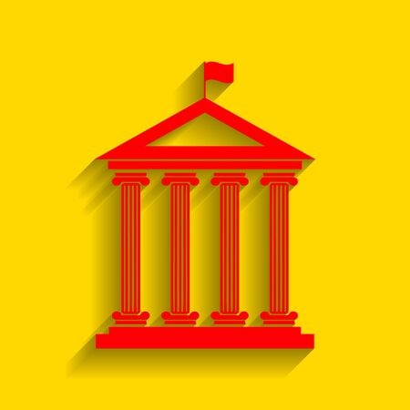 roman pillar: Historical building with flag. Vector. Red icon with soft shadow on golden background.