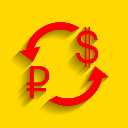 Currency exchange sign. Rouble and US Dollar Vector. Red icon with soft shadow on golden background. Illustration