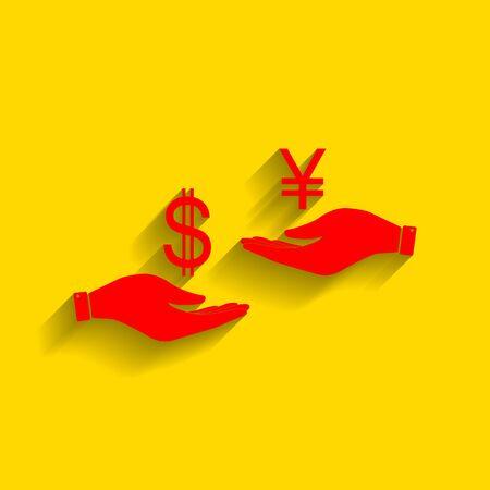 ganado: Cambio de moneda de mano en mano. Dólar y Yenes. Vector. Icono rojo con suave sombra sobre fondo dorado.