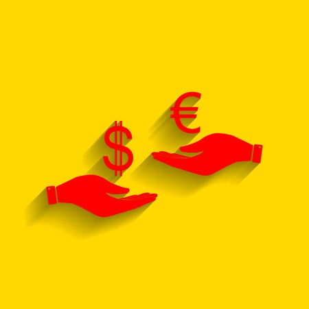 adn: Currency exchange from hand to hand. Dollar adn Euro. Vector. Red icon with soft shadow on golden background.