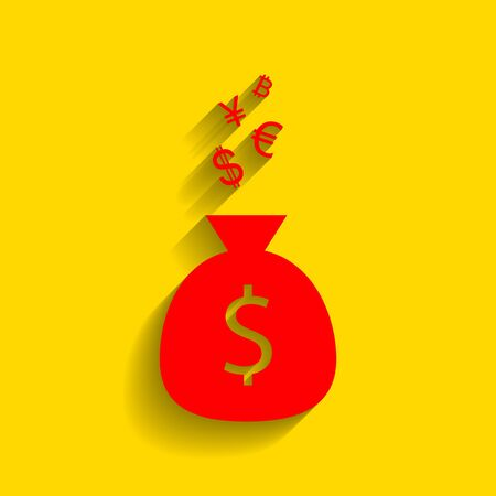 art processing: Money bag sign with currency symbols. Vector. Red icon with soft shadow on golden background. Illustration