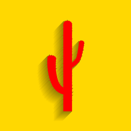 joshua: Cactus simple sign. Vector. Red icon with soft shadow on golden background. Illustration