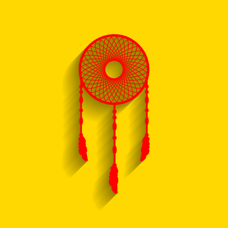 swelled: Dream catcher sign. Vector. Red icon with soft shadow on golden background. Stock Photo
