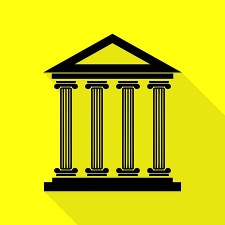 roman column: Historical building illustration. Black icon with flat style shadow path on yellow background. Illustration