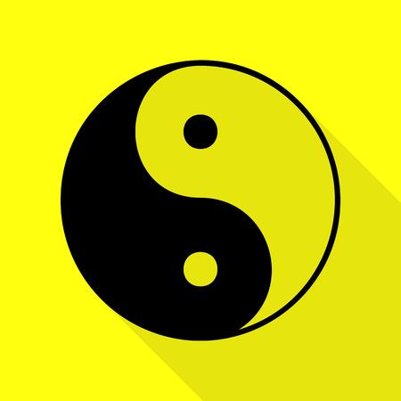 Ying yang symbol of harmony and balance. Black icon with flat style shadow path on yellow background. Illustration