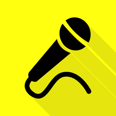 amplification: Microphone sign illustration. Black icon with flat style shadow path on yellow background.