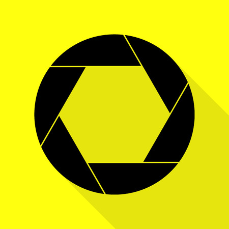 black and white photograph: Photo sign illustration. Black icon with flat style shadow path on yellow background.
