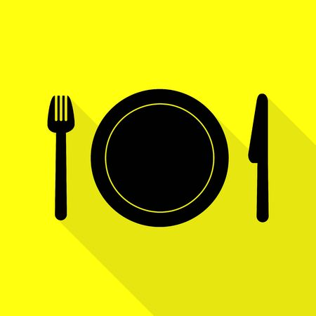 Fork, plate and knife. Black icon with flat style shadow path on yellow background. Illustration