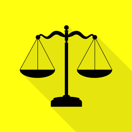 Scales balance sign. Black icon with flat style shadow path on yellow background. Illustration