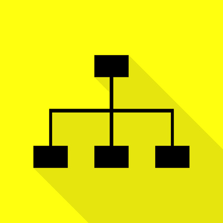 Site map sign. Black icon with flat style shadow path on yellow background.