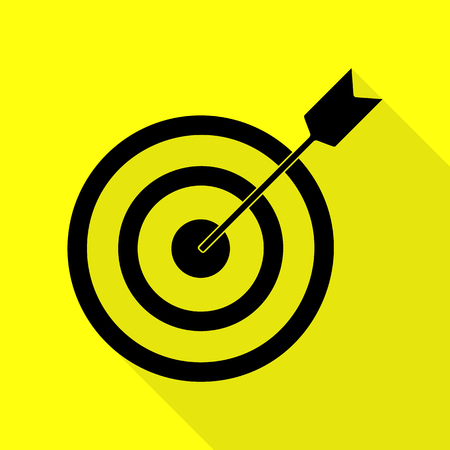 Target with dart. Black icon with flat style shadow path on yellow background.