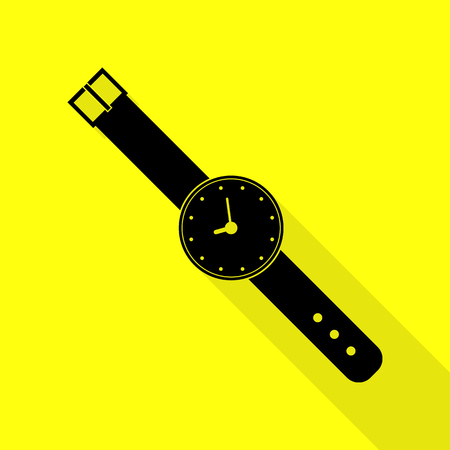 seconds: Watch sign illustration. Black icon with flat style shadow path on yellow background.