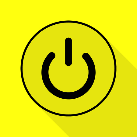 On Off switch sign. Black icon with flat style shadow path on yellow background.