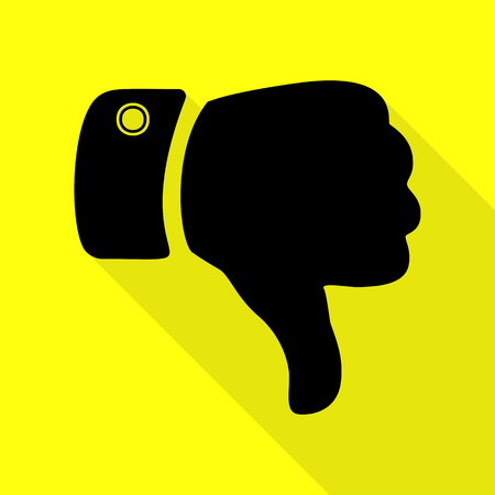 disapprove: Hand sign illustration. Black icon with flat style shadow path on yellow background.