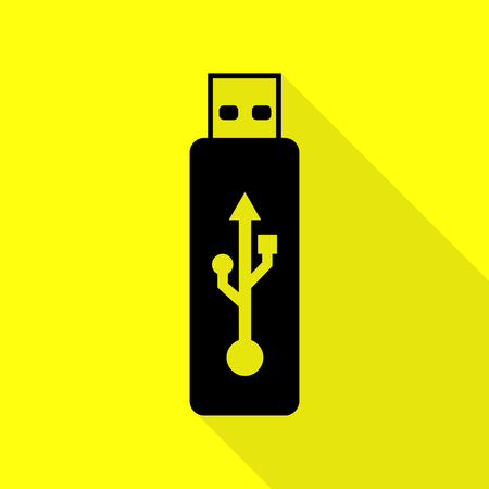 Vector USB flash drive sign. Black icon with flat style shadow path on yellow background. Illustration