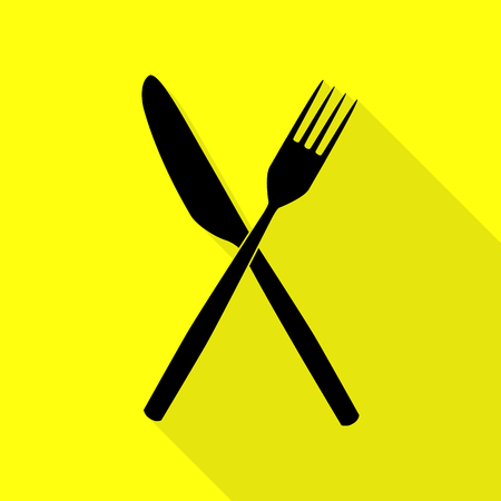 Fork and Knife sign. Black icon with flat style shadow path on yellow background. Illustration
