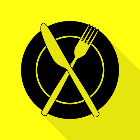 Fork, tape and Knife sign. Black icon with flat style shadow path on yellow background.