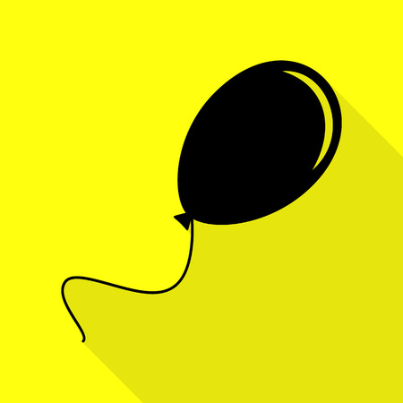 Balloon sign illustration. Black icon with flat style shadow path on yellow background.