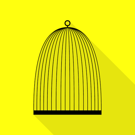 Bird cage sign. Black icon with flat style shadow path on yellow background.