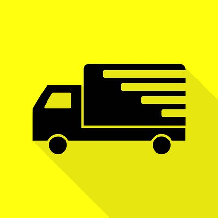 Delivery sign illustration. Black icon with flat style shadow path on yellow background.