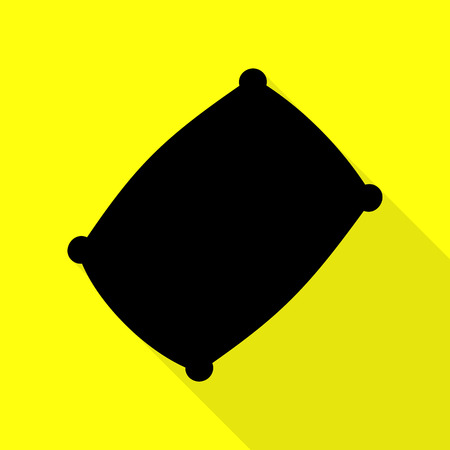 Pillow sign illustration. Black icon with flat style shadow path on yellow background. Illustration