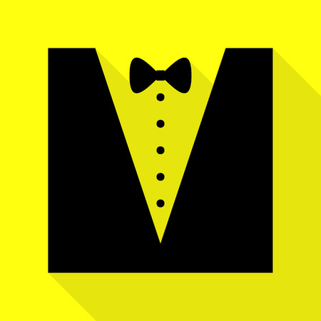 Tuxedo with bow silhouette. Black icon with flat style shadow path on yellow background. Illustration