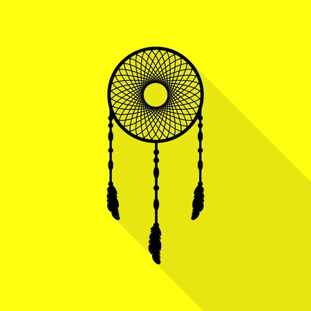 Dream catcher sign. Black icon with flat style shadow path on yellow background. Illustration