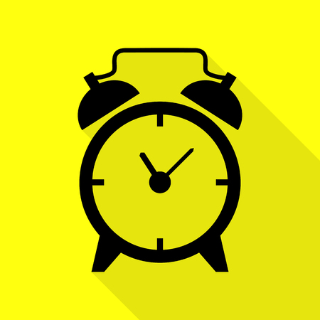 Alarm clock sign. Black icon with flat style shadow path on yellow background. Illustration