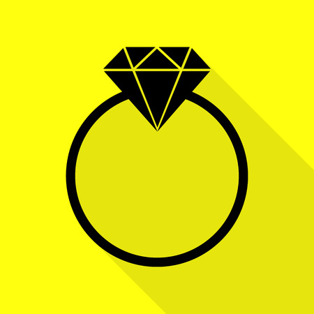 Diamond sign illustration. Black icon with flat style shadow path on yellow background.