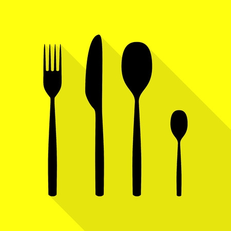 Fork spoon and knife sign. Black icon with flat style shadow path on yellow background. Illustration