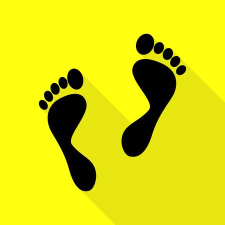 Foot prints sign. Black icon with flat style shadow path on yellow background.