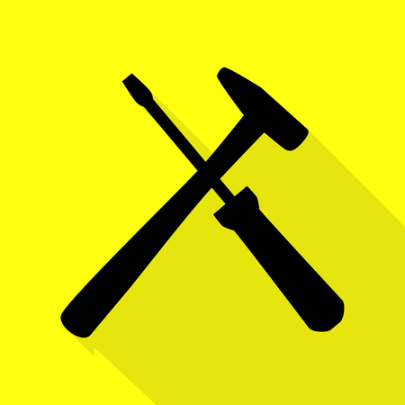 Tools sign illustration. Black icon with flat style shadow path on yellow background. Çizim
