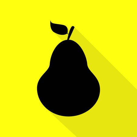 Pear sign illustration. Black icon with flat style shadow path on yellow background.