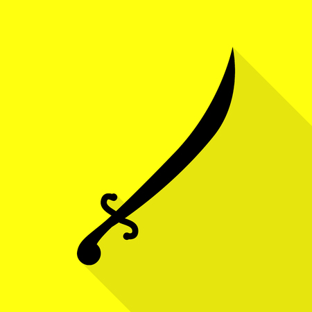 Sword sign illustration. Black icon with flat style shadow path on yellow background.