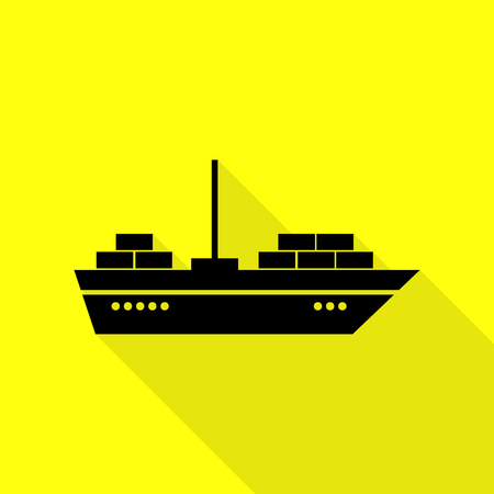 inflate boat: Ship sign illustration. Black icon with flat style shadow path on yellow background.