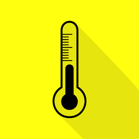 Meteo diagnostic technology thermometer sign. Black icon with flat style shadow path on yellow background.