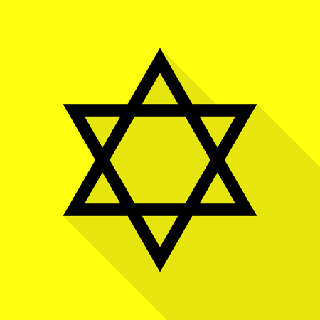Shield Magen David Star. Symbol of Israel. Black icon with flat style shadow path on yellow background.