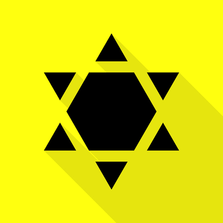 chanukkah: Shield Magen David Star Inverse. Symbol of Israel inverted. Black icon with flat style shadow path on yellow background. Illustration