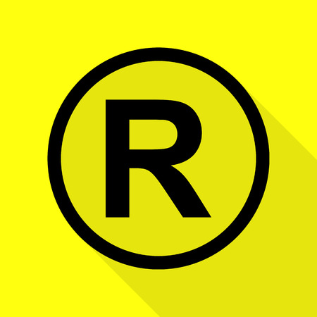 Registered Trademark sign. Black icon with flat style shadow path on yellow background.