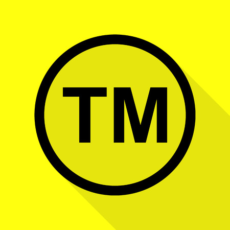 Trade mark sign. Black icon with flat style shadow path on yellow background.